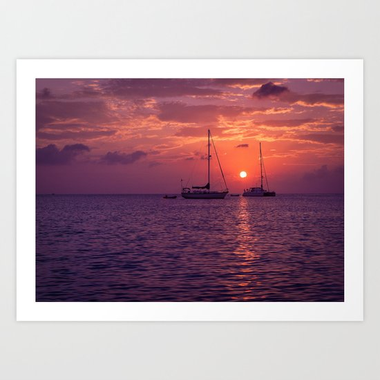 Sailboats at sunset in Roatan Art Print