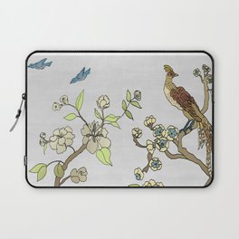Chinoiserie Panels 3-4 Silver Gray Raw Silk - Casart Scenoiserie Collection Laptop Sleeve