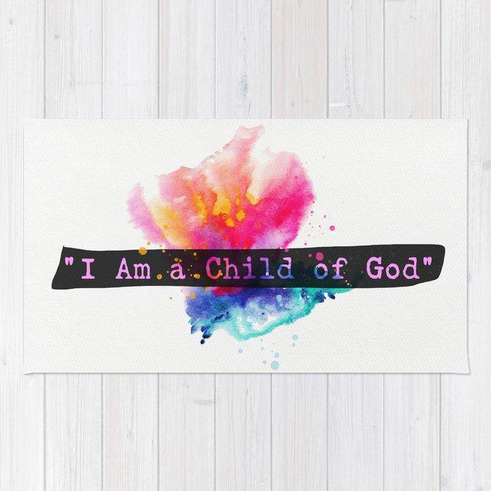 I am child of God. Flower Rug