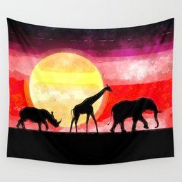 Elephant Giraffe Rhinoceros Wall Tapestry