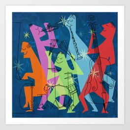 Mid-Century Modern Jazz Band Art Print