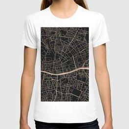 Gold and black Dublin map T-shirt