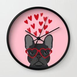 French Bulldog head valentines day love hearts dog breed frenchies Wall Clock