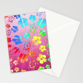 Tie Dye Honu And Hibiscus Stationery Cards