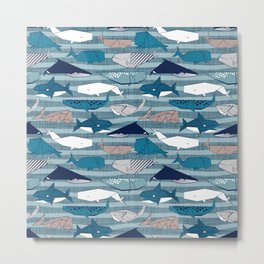 Origami Sea // linen texture and nautical stripes background teal white and taupe whales Metal Print