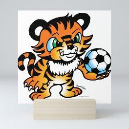 Soccer Tiger (color) square Mini Art Print