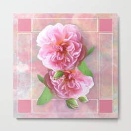 Pink Roses on Watercolor Metal Print