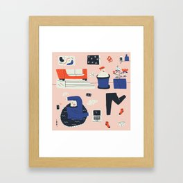 WORKING FROM HOME Framed Art Print