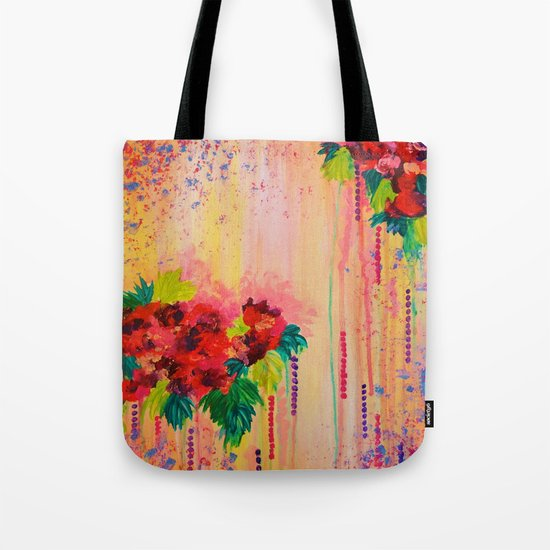 STRAWBERRY CONFETTI PAINTING Abstract Acrylic Floral Beautiful Feminine Flower Bouquet Girlie Pink Tote Bag