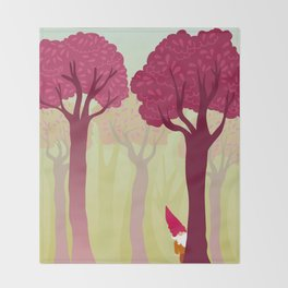 colorful forest with cute dwarf Throw Blanket