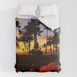 Maui Sunset with Red Flowers Comforters