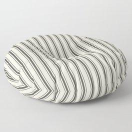 Mattress Ticking Wide Striped Pattern in Dark Black and Beige Floor Pillow
