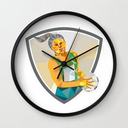Netball Player Holding Ball Low Polygon Wall Clock