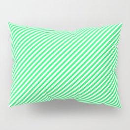 Lanai Lime Green - Acid Green and White Candy Cane Stripe Pillow Sham