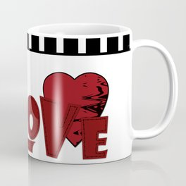 Valentine's day . Love. Black and white striped background . 2 Coffee Mug