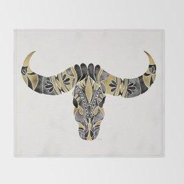 Water Buffalo Skull – Black & Gold Palette Throw Blanket