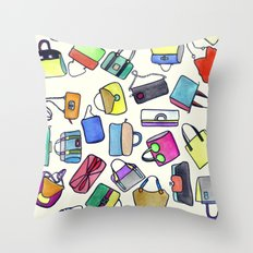colored bags obsession Throw Pillow