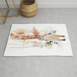 """Watercolor Painting of Picture """"Portrait of a Giraffe"""" Rug"""