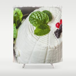 Fantasy of ricotta cheese, berries, dried figs and fresh mint Shower Curtain