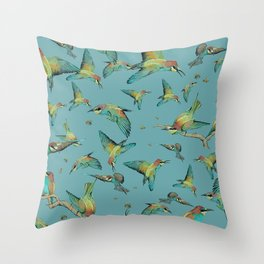 The birds and the bees pattern on blue Throw Pillow