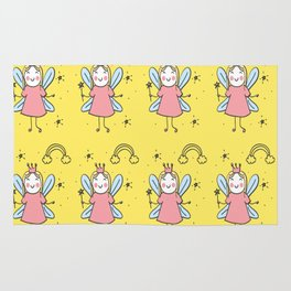 Doodle Fairy design magic unicorn princess love Rug