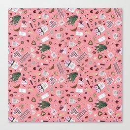 Pink Pastel Valentine Pattern Canvas Print