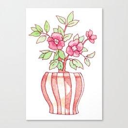 Cute Camellia Bonsai Tree in Watercolor Canvas Print