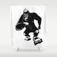 roller derby Shower Curtains featuring Derby King, Derby Kong by Mitt Roshin