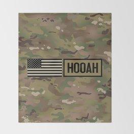 Hooah (Camo) Throw Blanket