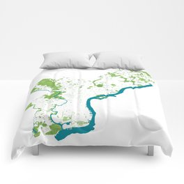 Philadelphia Map - Green Spaces Philly Parks Comforters