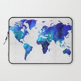 World Map 17 - Blue Art By Sharon Cummings Laptop Sleeve