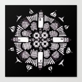 Cape Cod Mandala (white on black) Canvas Print