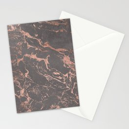 Modern Grey cement concrete on rose gold marble Stationery Cards