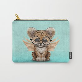 Cute Leopard Cub Fairy Wearing Glasses on Blue Carry-All Pouch