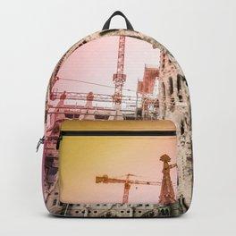 Rainbow Sky Vintage Sagrada Familia in Barcelona Spain Backpack
