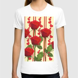 YELLOW SCARLET ROSES & RED VALENTINE HEARTS T-shirt