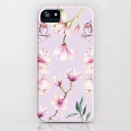 Magnolia & Birds Floral Spring Pattern iPhone Case