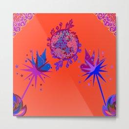 Fancy Argyle /Orange Blue Metal Print