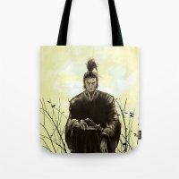samurai Tote Bags featuring Samurai by Tony Vazquez