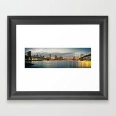 New York City, Brooklyn Bridge and Manhattan Bridge Panorama Framed Art Print