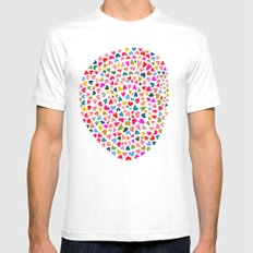 Love MEDIUM White Mens Fitted Tee