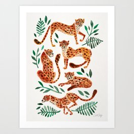 Cheetah Collection – Orange & Green Palette Art Print