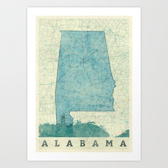 Alabama State Map Blue Vintage Art Print