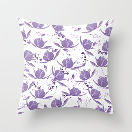 Hand painted lilac violet watercolor splatters floral Throw Pillow