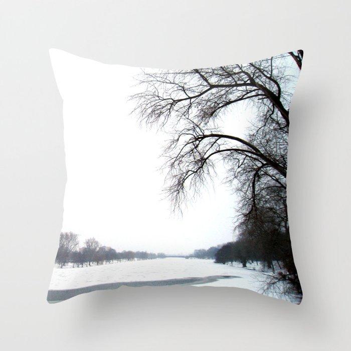 frozen lake. Throw Pillow