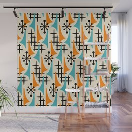 Mid Century Modern Atomic Wing Composition Orange & Blue Wall Mural