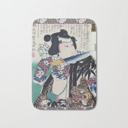 Kunichika Tattooed Warrior with Sayagata Pattern Background Bath Mat