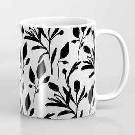 Black and White Floral Pattern Coffee Mug