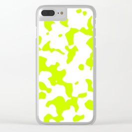 Large Spots - White and Fluorescent Yellow Clear iPhone Case