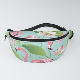 Flamingos Pattern on Aqua Fanny Pack